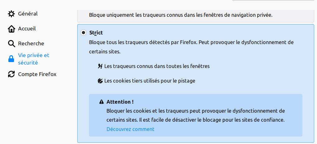 Options de protection de contenu dans Firefox